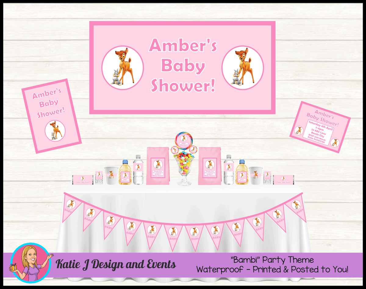Personalised Pink Bambi Baby Shower Packs Decorations Supplies