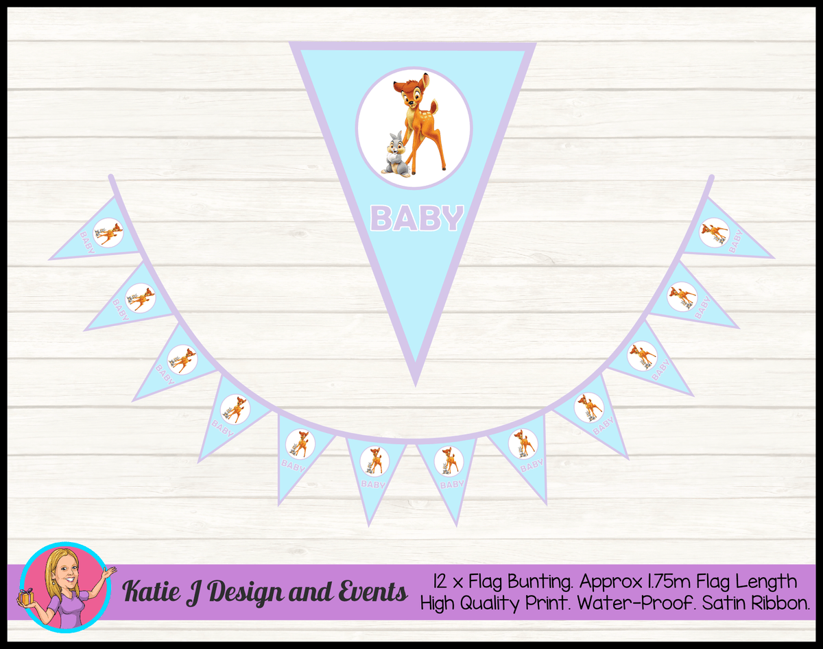 Bambi Personalised Baby Shower Flag Bunting