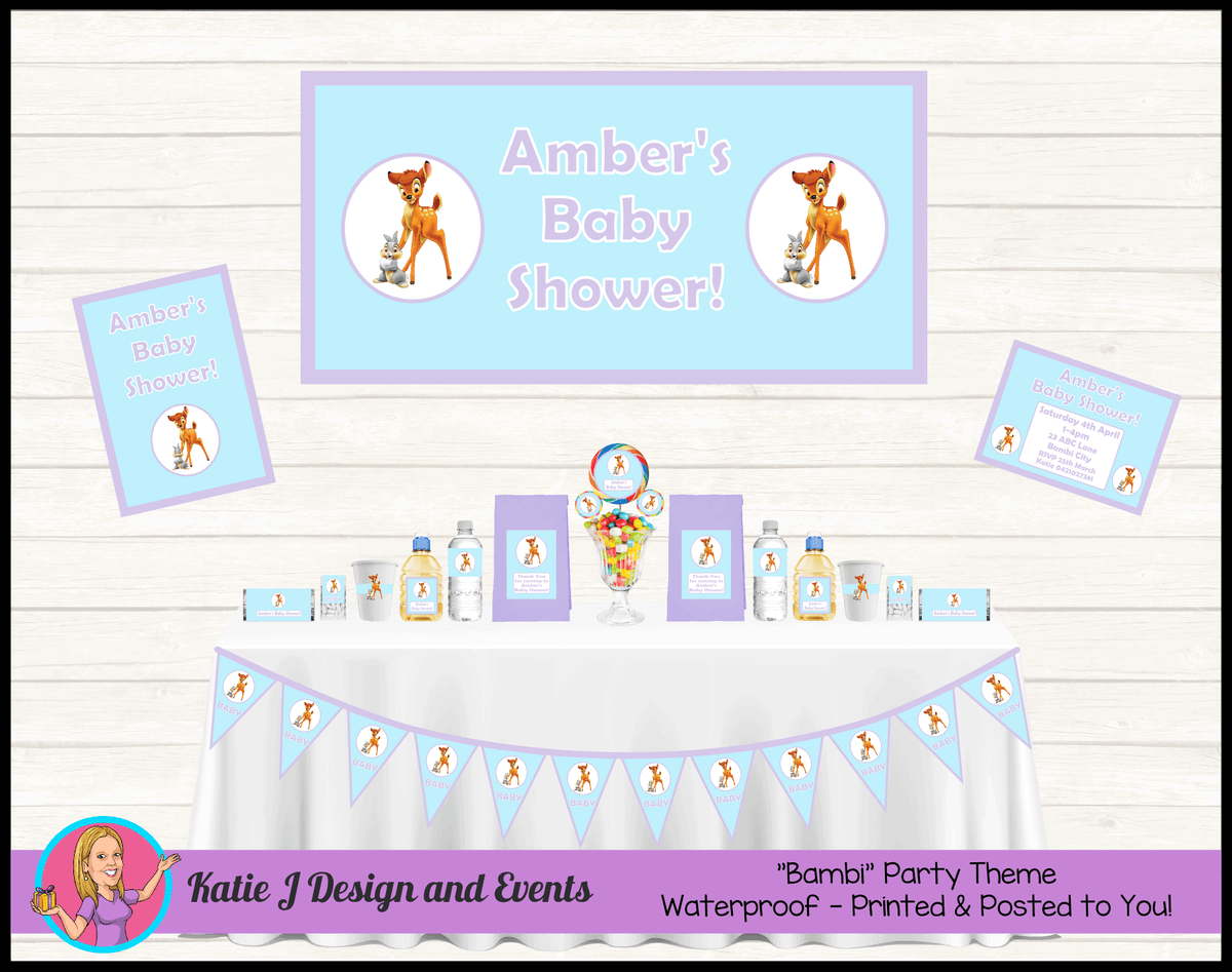 Personalised Blue Purple Bambi Baby Shower Packs Decorations Supplies