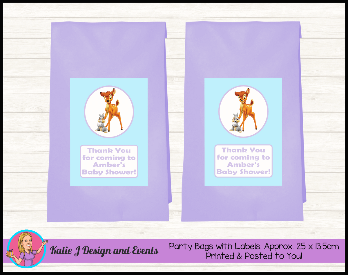 Bambi Personalised Baby Shower Party Loot Bags