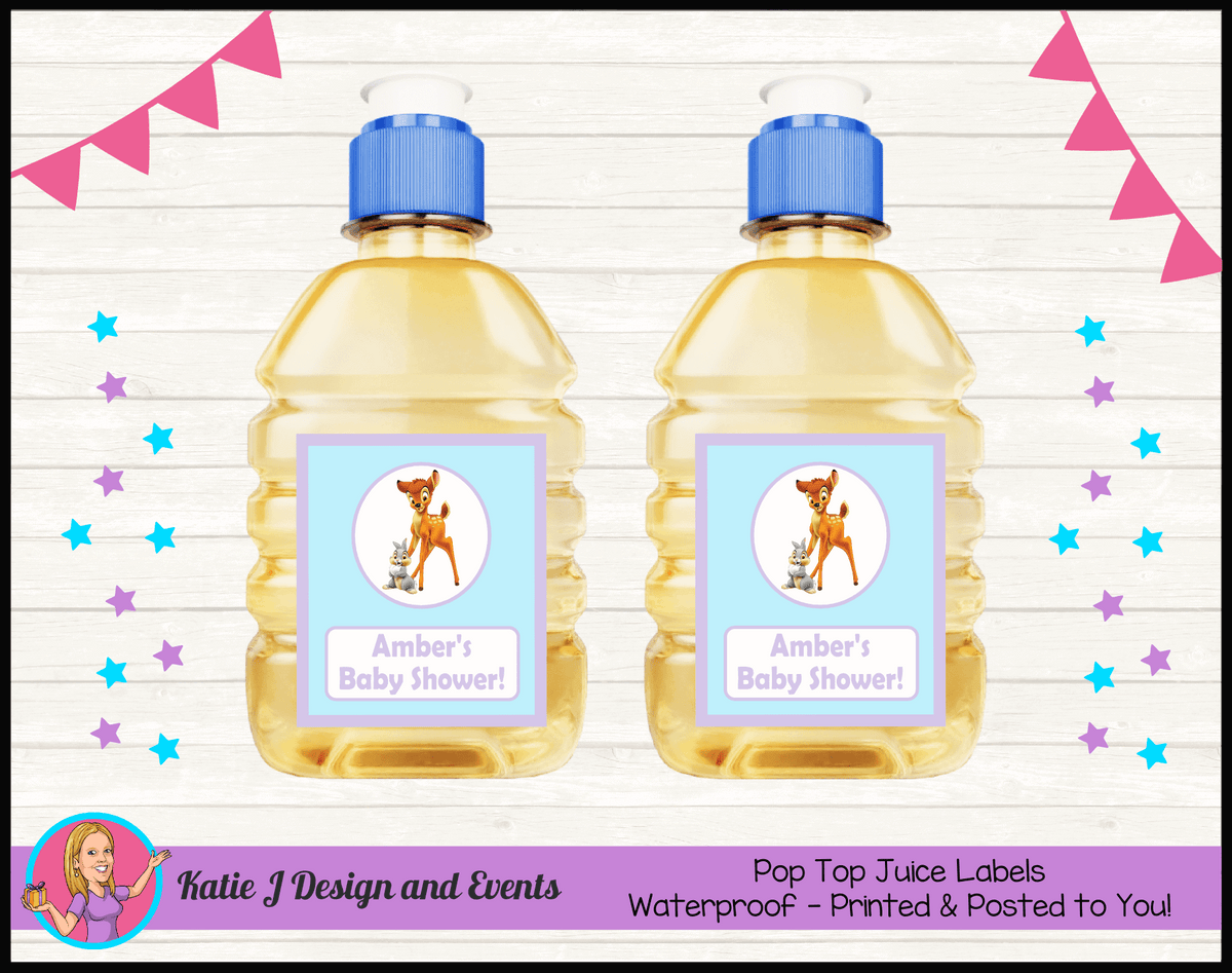 Bambi Personalised Baby Shower Pop Top Juice Labels