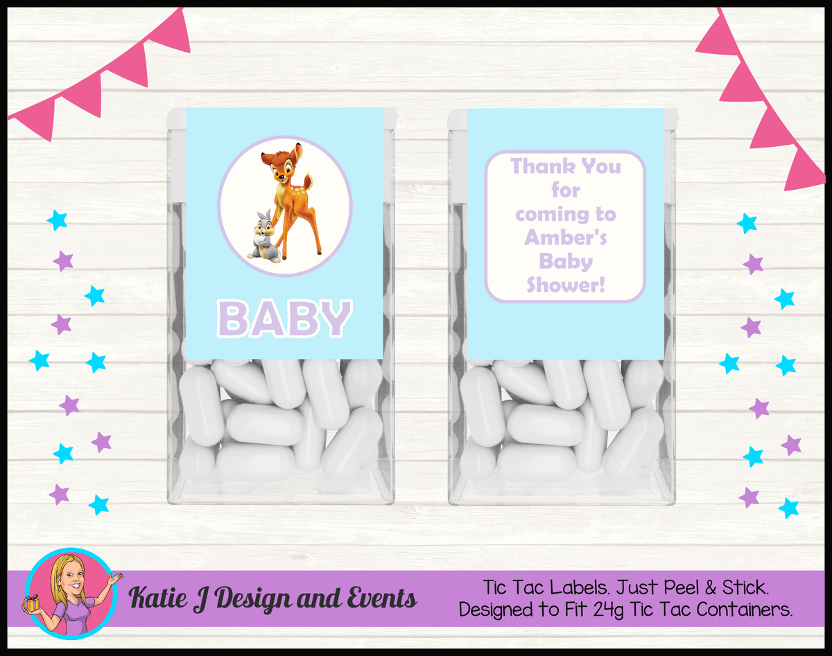 Bambi Personalised Baby Shower Tic Tac Mint Labels