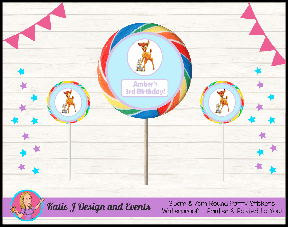 Bambi Personalised Birthday Party Round Lollipop Stickers Favours