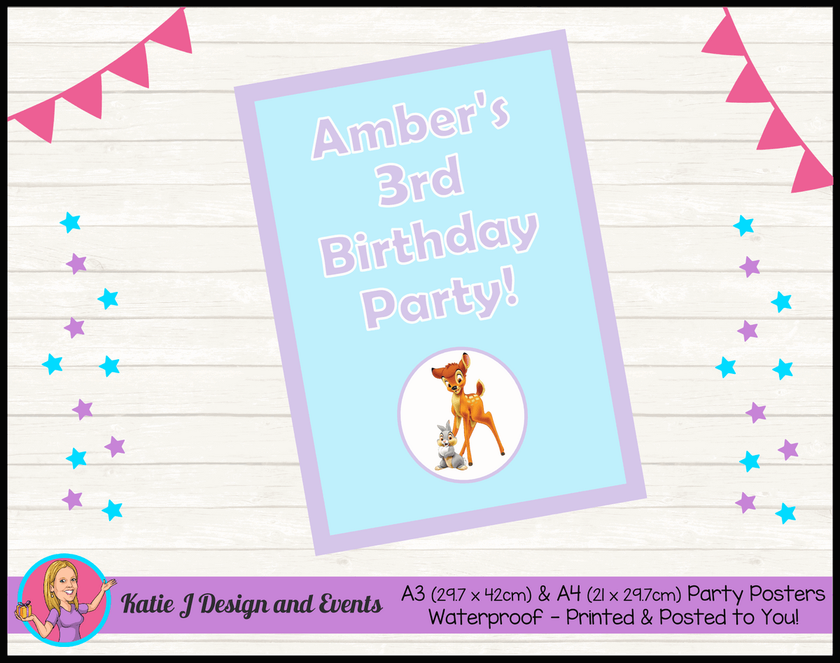 Bambi Personalised Birthday Party Posters