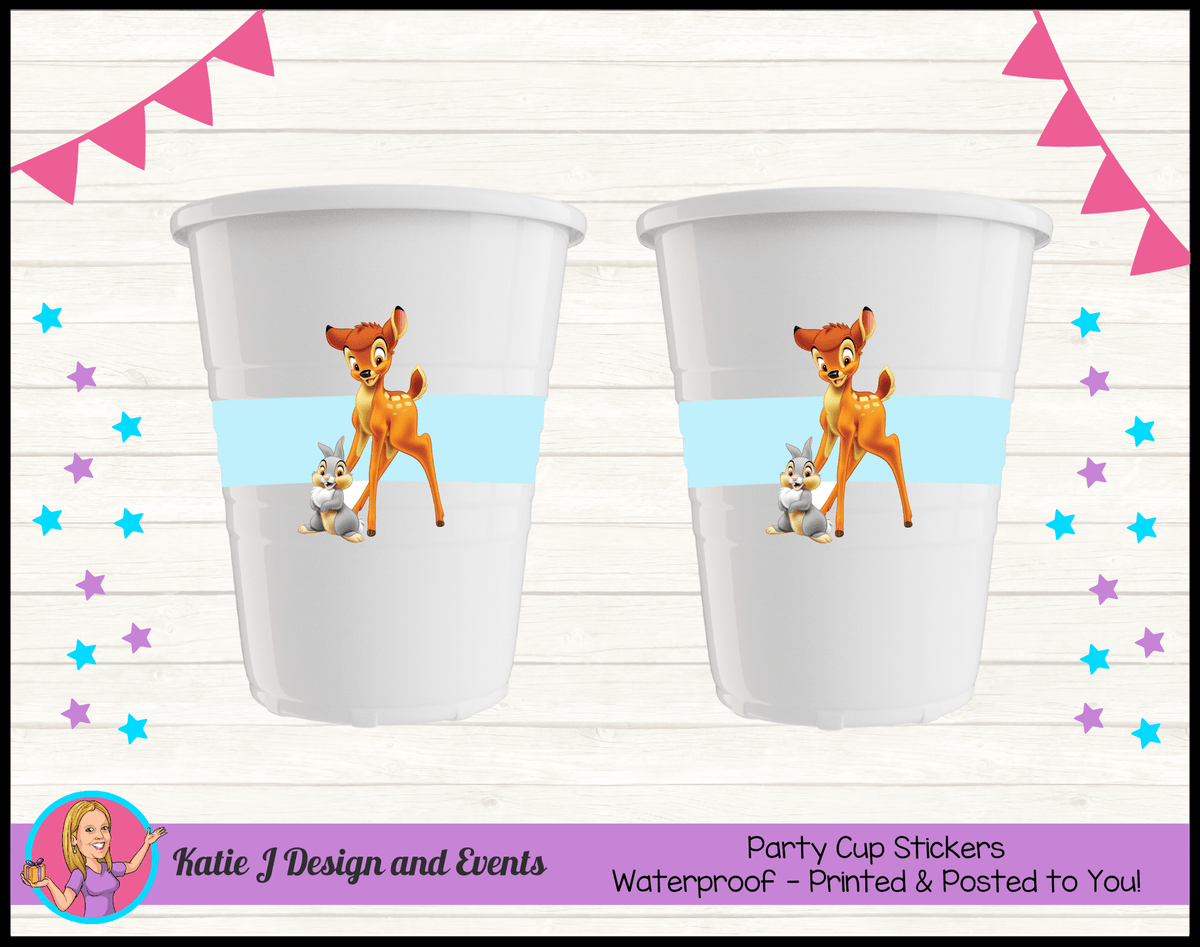 Bambi Personalised Birthday Party Cup Stickers Cups