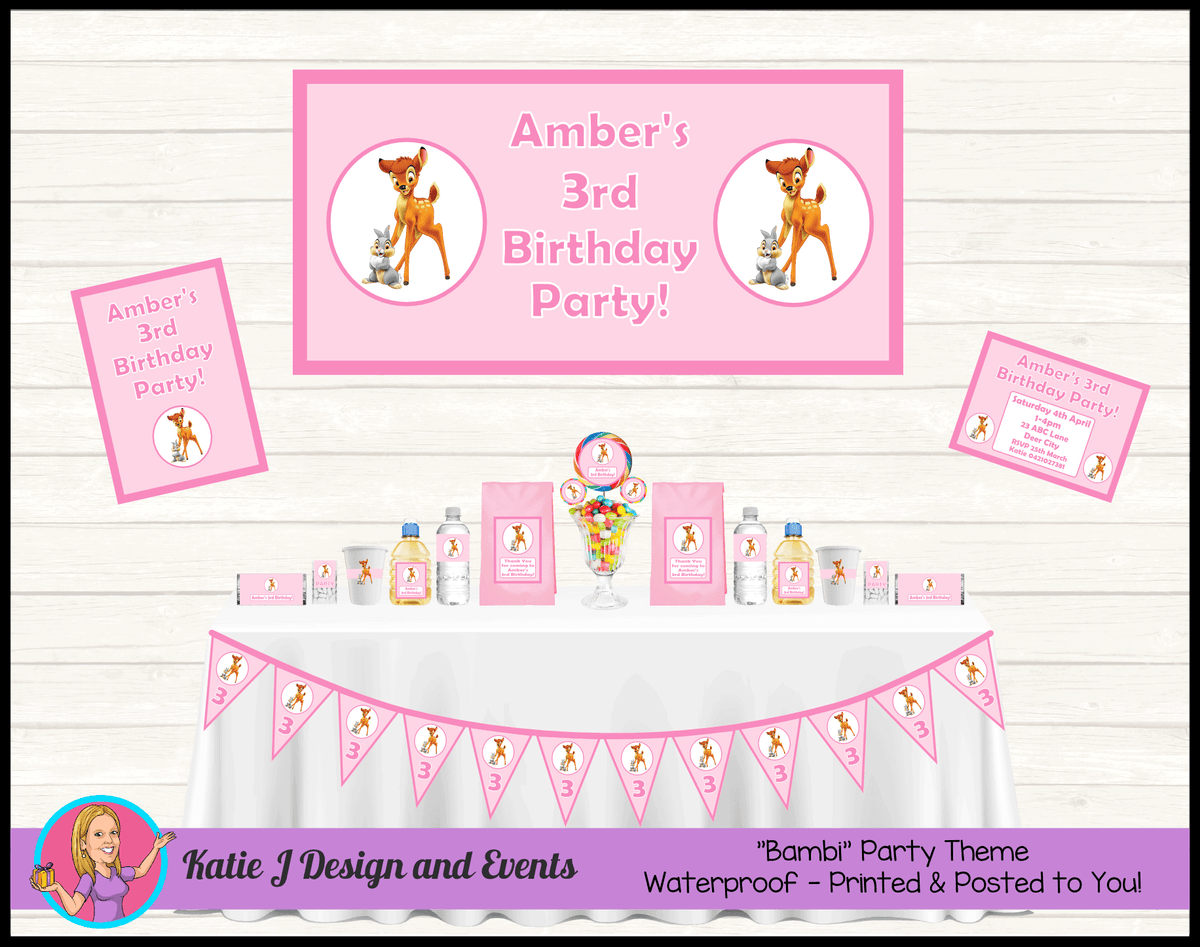 Pink Bambi Personalised Party Packs Decorations Supplies Australia