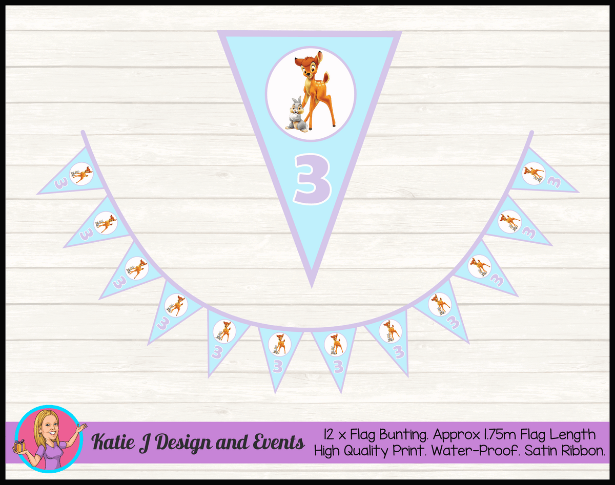Bambi Personalised Birthday Party Flag Bunting