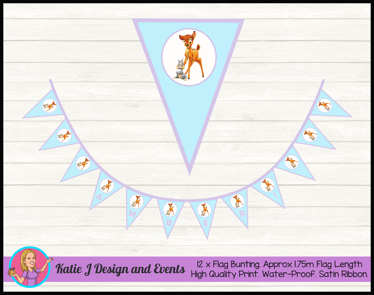 Bambi Personalised Birthday Party Flag Bunting Name