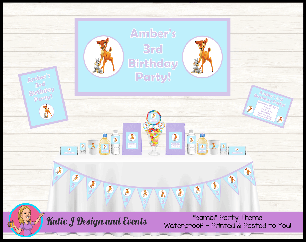 Blue Purple Bambi Personalised Party Packs Decorations Supplies Australia