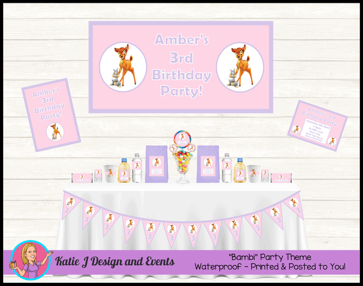 Pink Purple Bambi Personalised Party Packs Decorations Supplies Australia