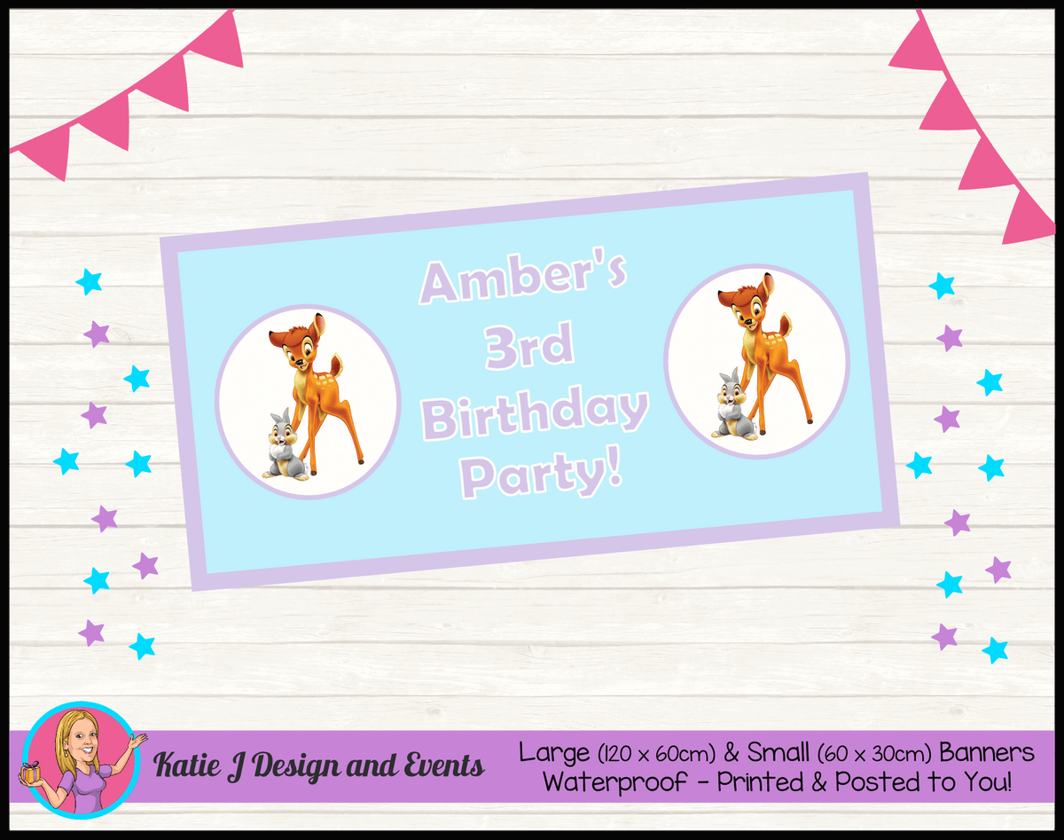 Bambi Personalised Birthday Party Banners