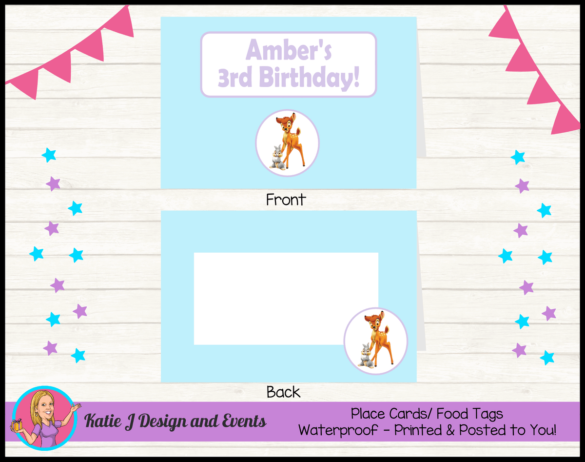 Bambi Personalised Birthday Party Place Cards