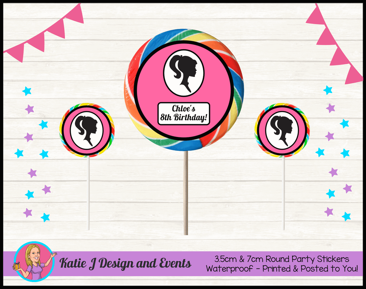 Pink & Black Barbie Head Personalised Birthday Party Round Lollipop Stickers