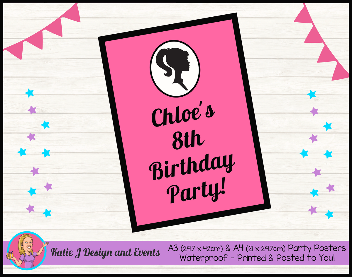 Pink & Black Barbie Head Personalised Birthday Party Bunting