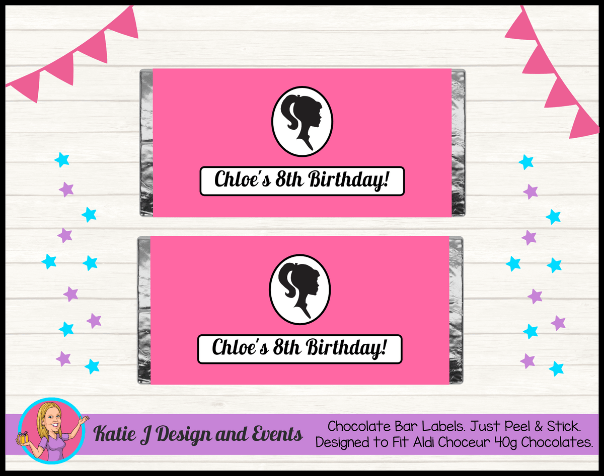 Pink & Black Barbie Head Personalised Birthday Party Chocolate Labels Wrappers