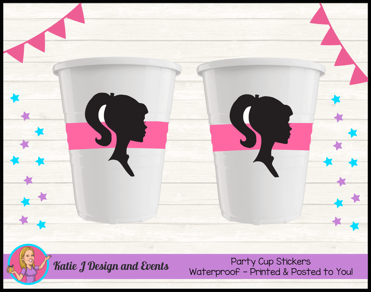 Pink & Black Barbie Head Personalised Birthday Party Cup Stickers Cups
