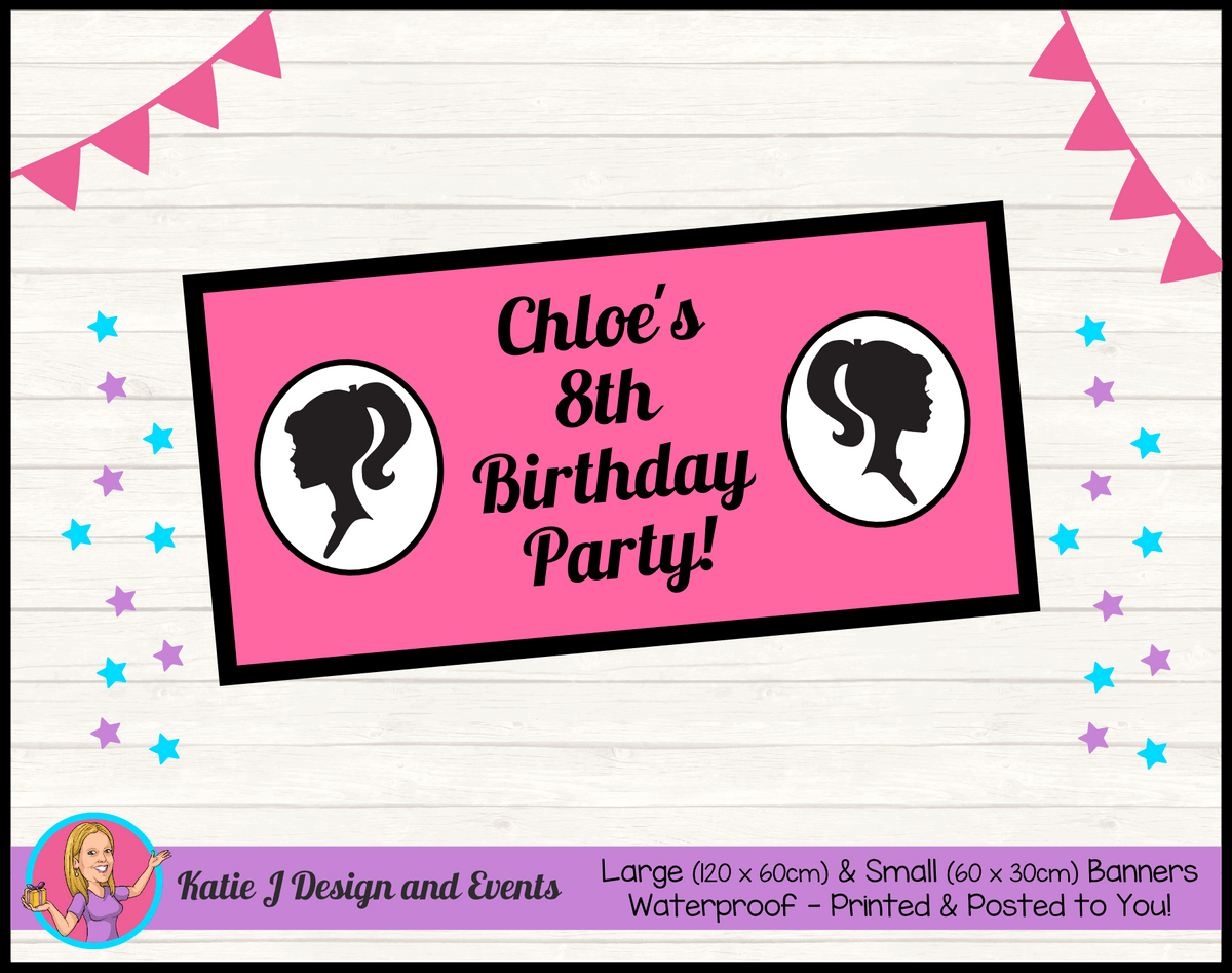 Pink & Black Barbie Head Personalised Birthday Party Banners