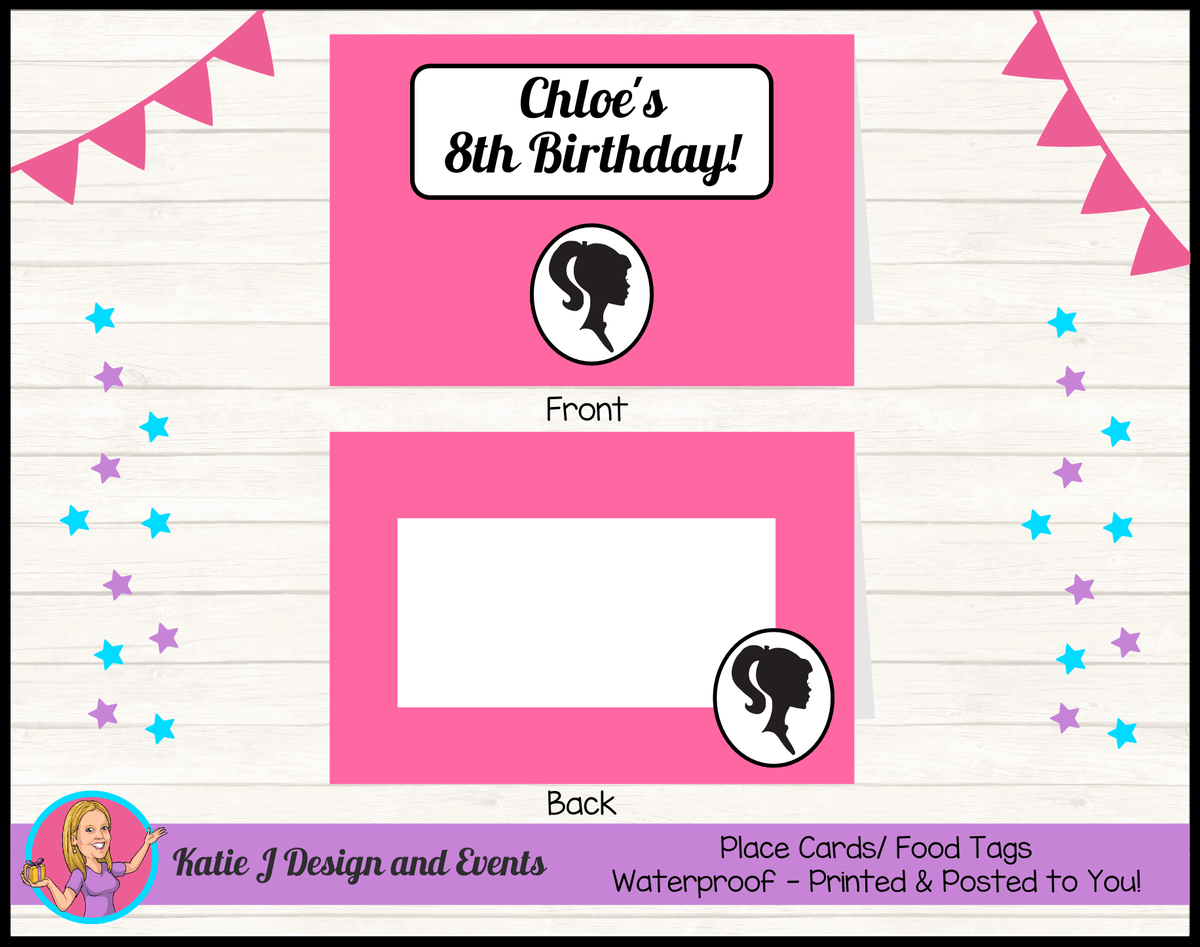 Pink & Black Barbie Head Personalised Birthday Party Place Cards