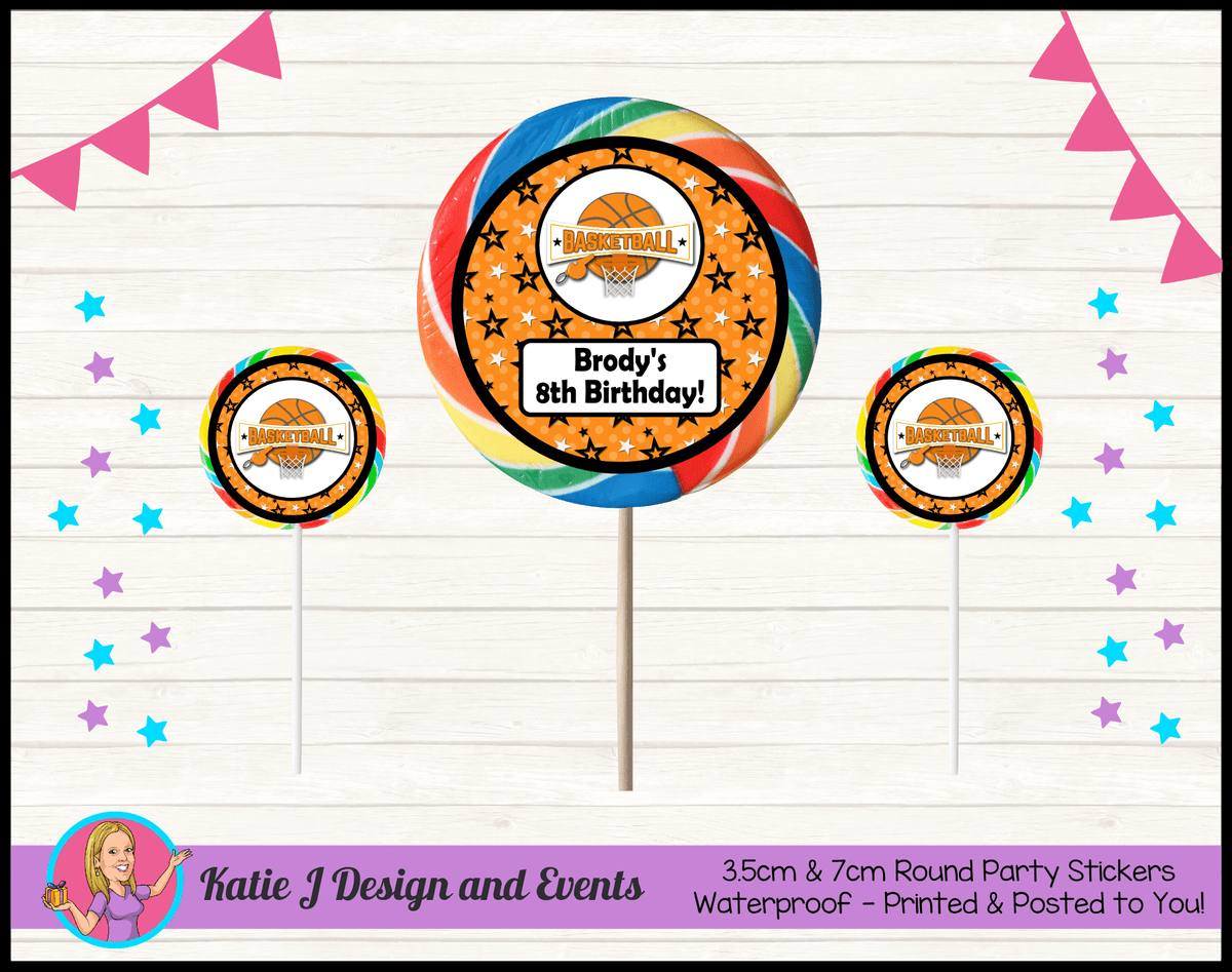 Basketball Personalised Birthday Party Round Lollipop Stickers