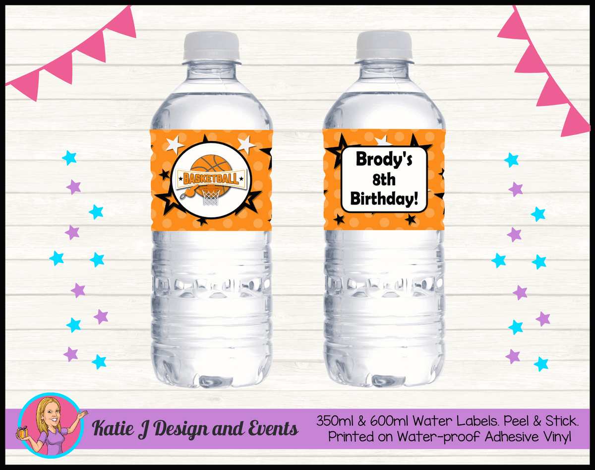 Basketball Personalised Birthday Party Water Bottle Labels