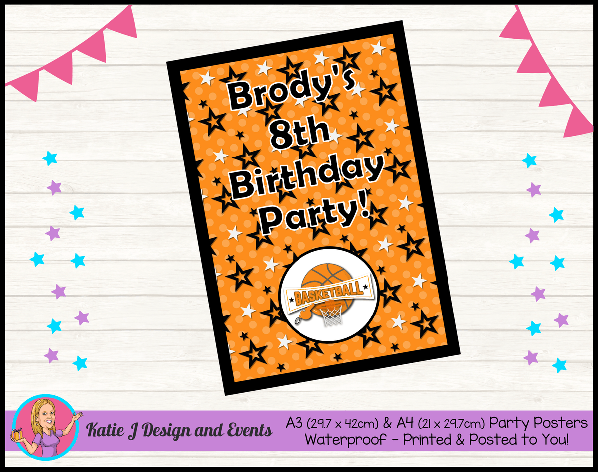 Basketball Personalised Birthday Party Posters