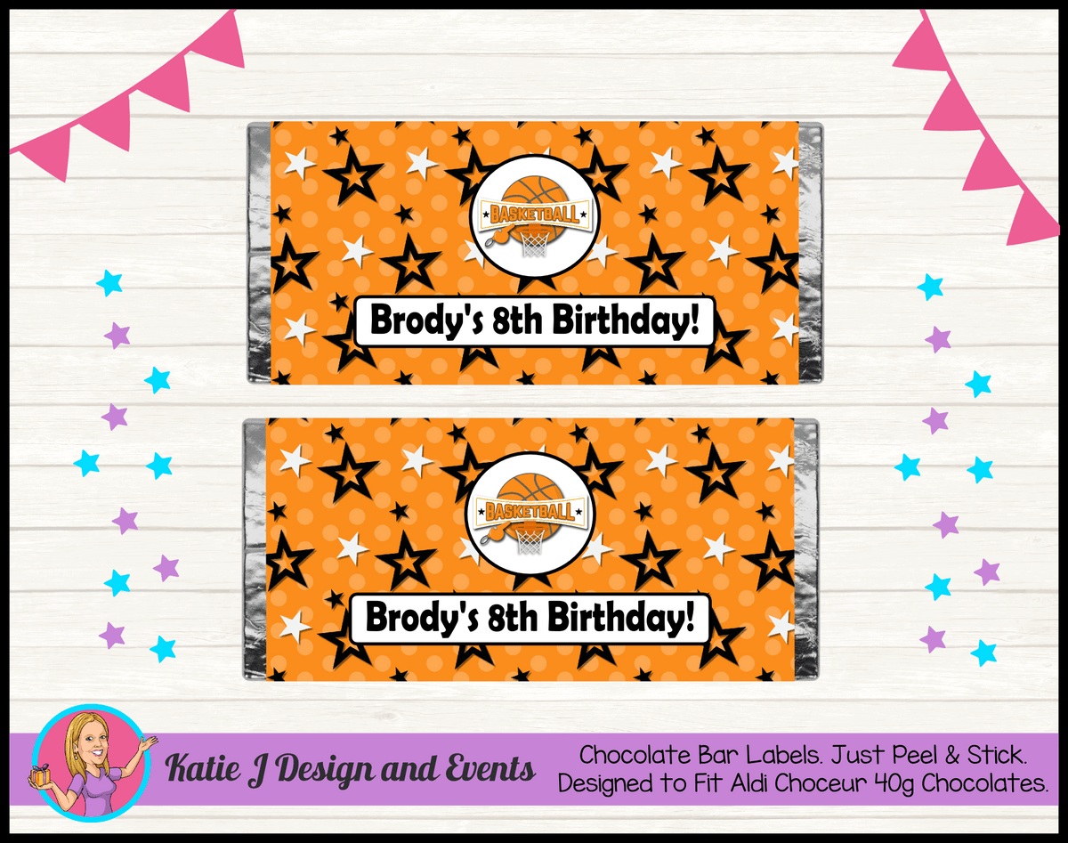 Basketball Personalised Birthday Party Aldi Mini Chocolate Wrappers Labels