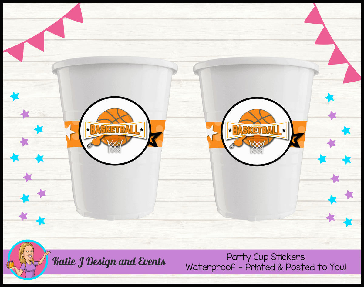 Basketball Personalised Birthday Party Cup Stickers Cups