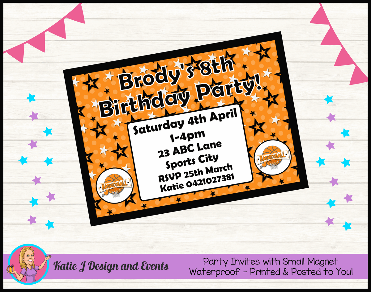 Basketball Personalised Birthday Party Invites Invitations