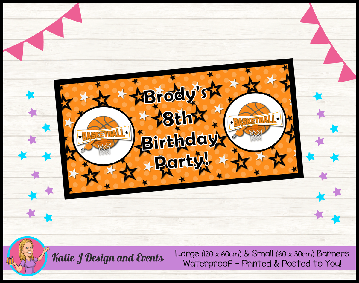 Basketball Personalised Birthday Party Banners