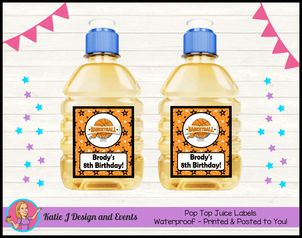 Basketball Personalised Birthday Party Pop Top Juice Labels