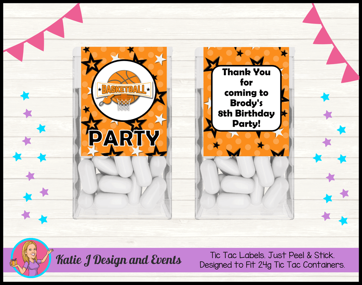 Basketball Personalised Birthday Party Tic Tacs Mint labels