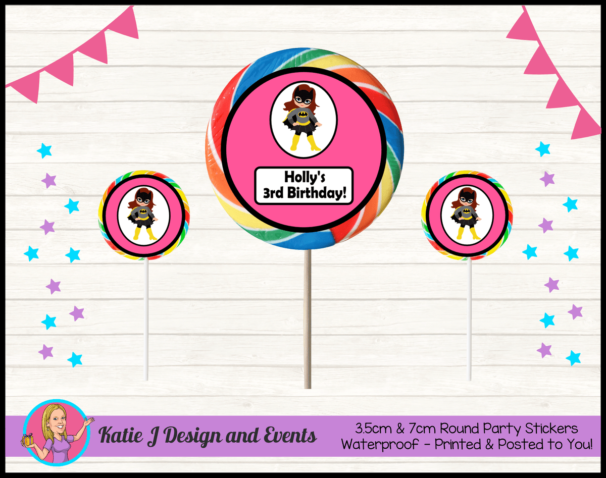 Batgirl Personalised Birthday Party Round Lollipop Stickers