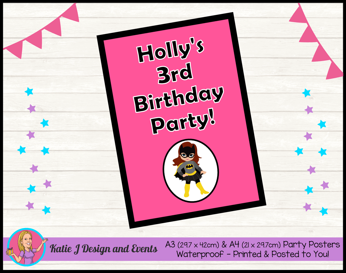 Batgirl Personalised Birthday Party Posters