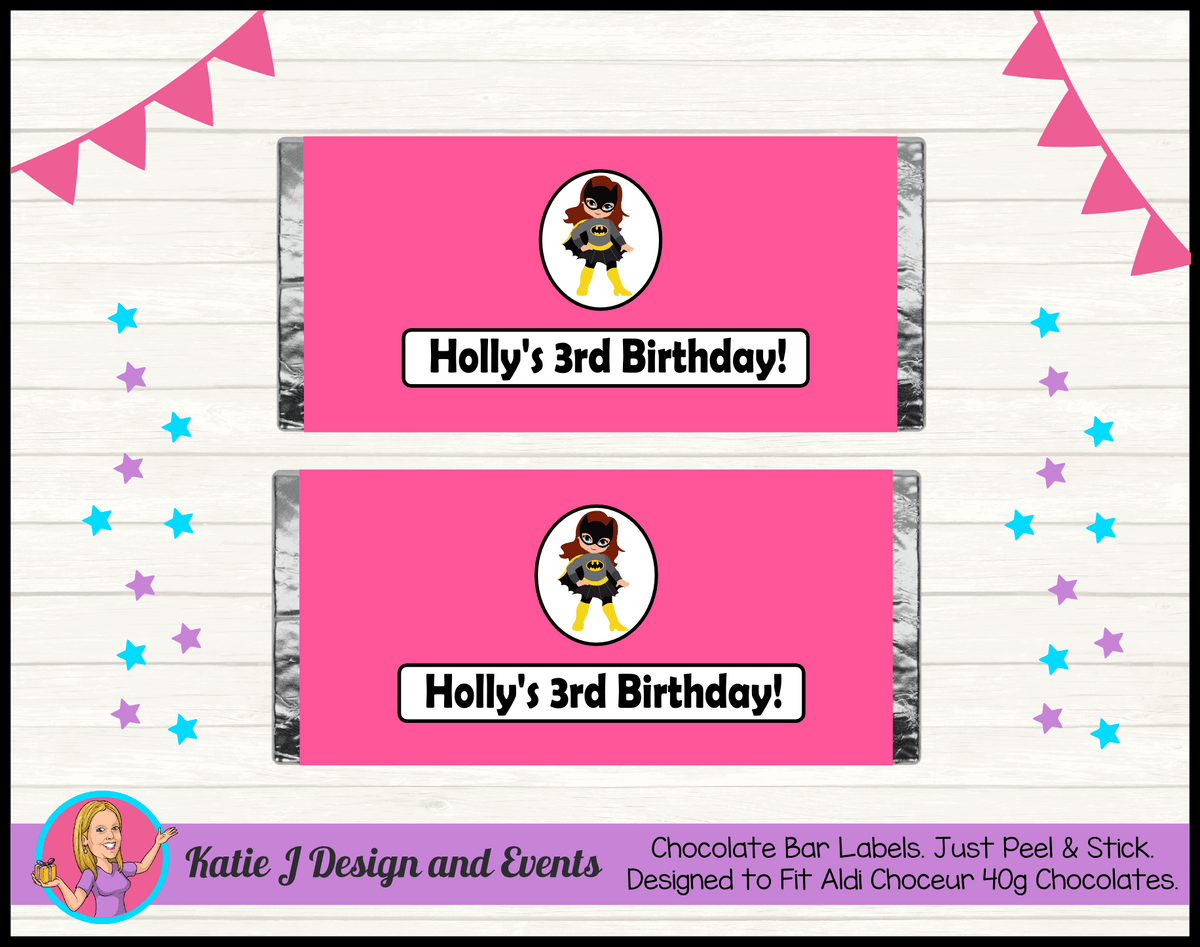 Batgirl Personalised Birthday Party Chocolate Labels Wrappers