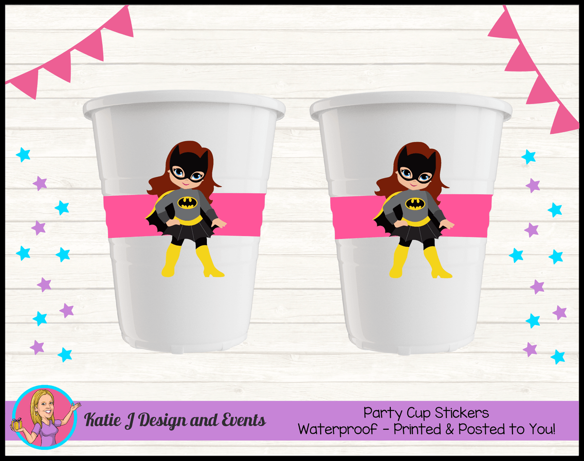 Batgirl Personalised Birthday Party Cup Stickers Cups