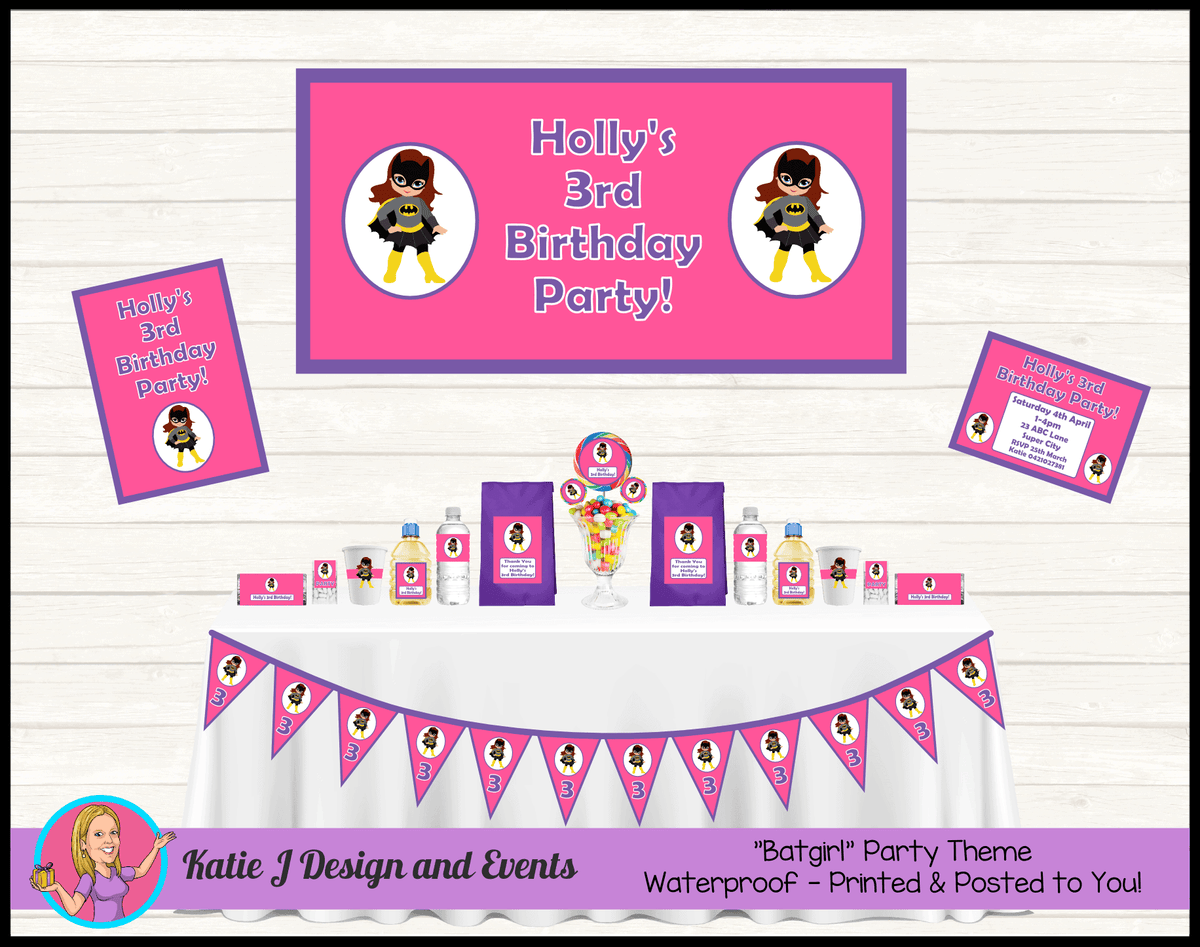 Personalised Pink & Purple Batgirl Party Packs Decorations Supplies