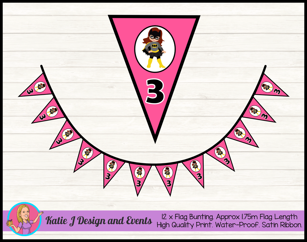 Batgirl Personalised Birthday Party Flag Bunting
