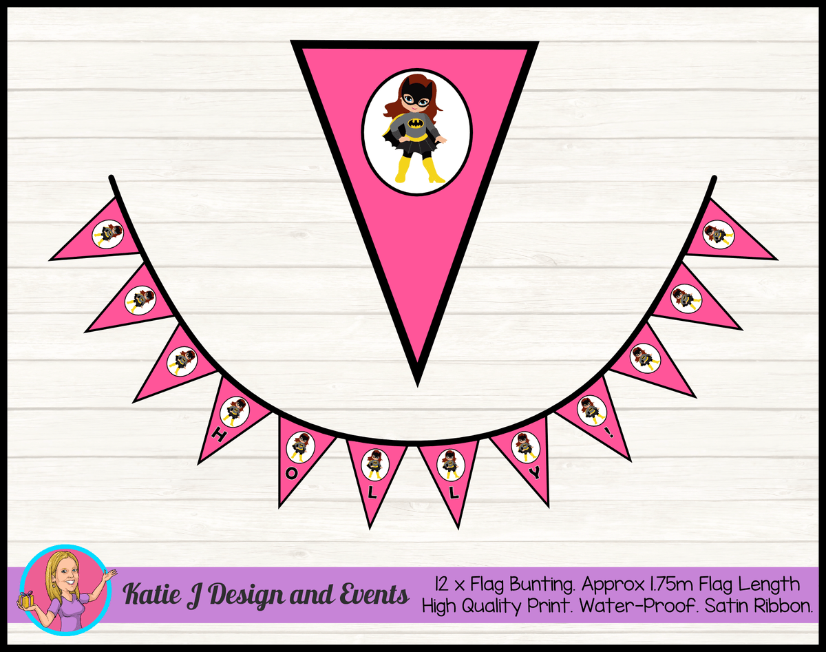 Batgirl Personalised Birthday Party Flag Bunting Name