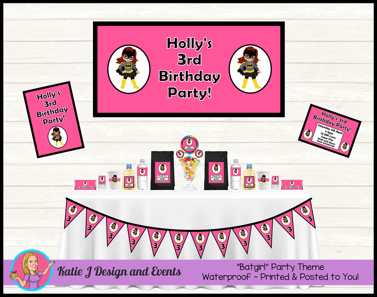 Personalised Pink & Black Batgirl Party Packs Decorations Supplies