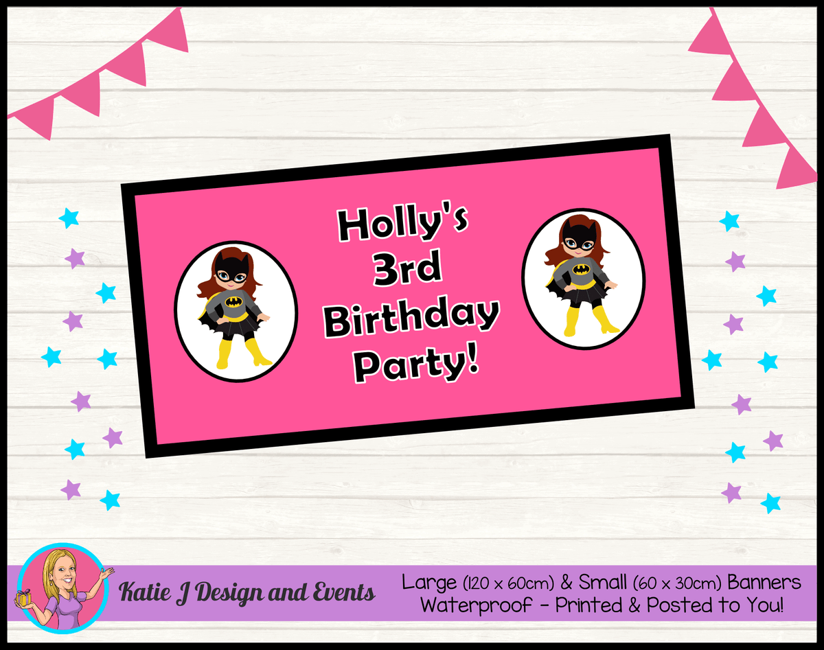 Batgirl Personalised Birthday Party Banners
