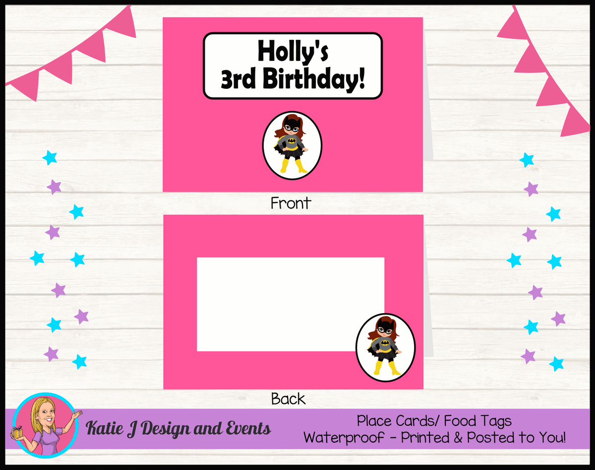 Batgirl Personalised Birthday Party Place Cards