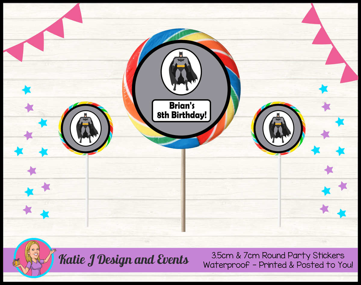 Batman Personalised Birthday Party Round Lollipop Stickers