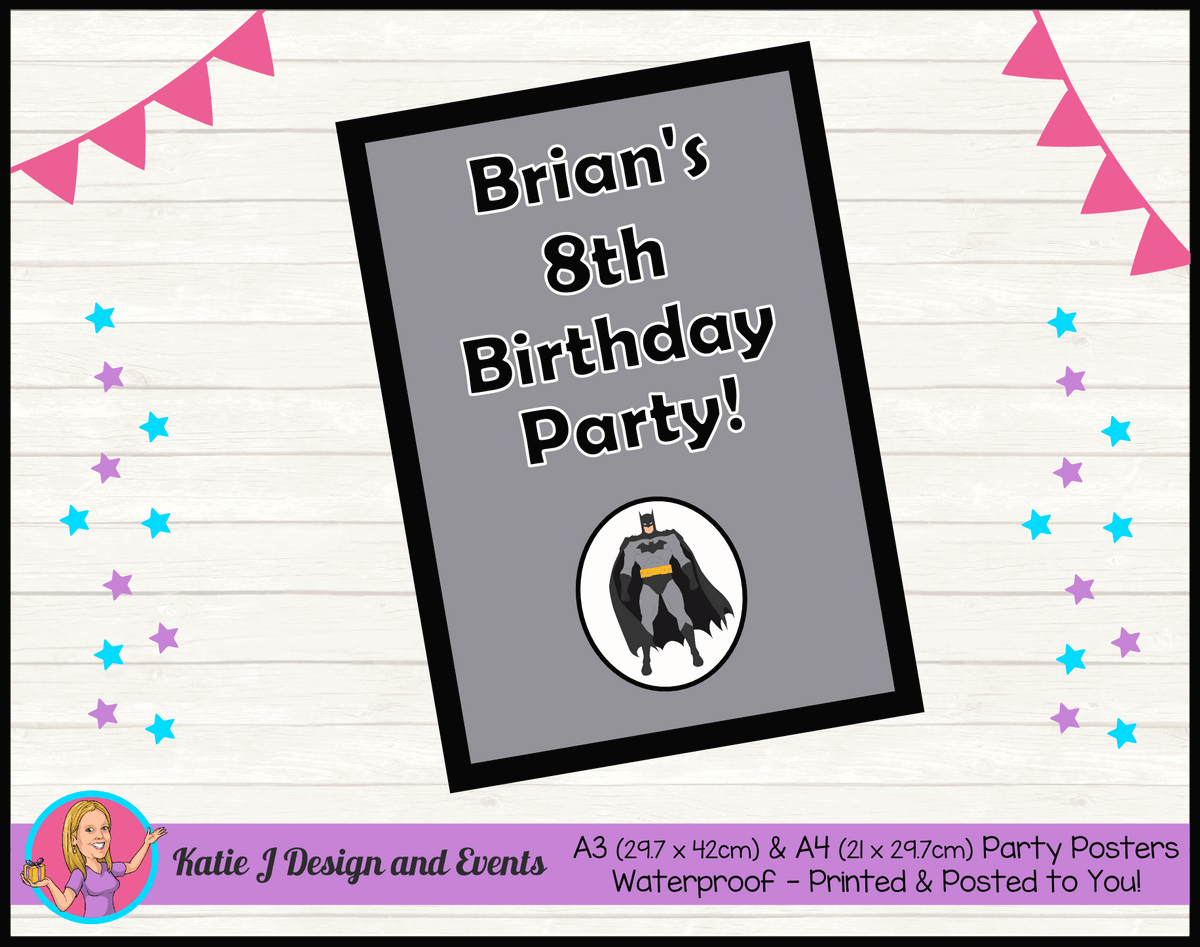 Batman Personalised Birthday Party Poster