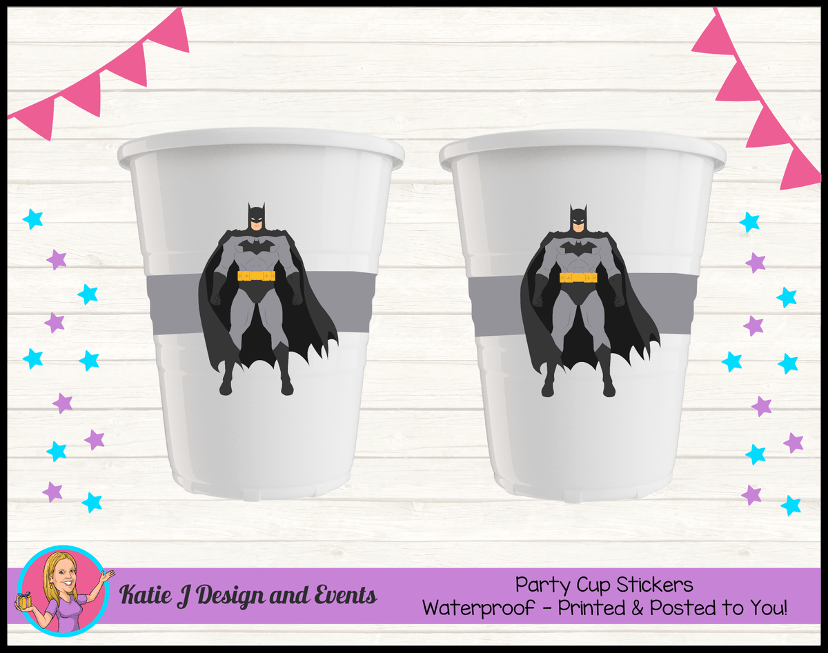 Batman Personalised Birthday Party Cup Stickers Cups