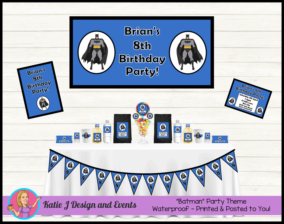Personalised Blue Batman Party Packs Decorations Supplies