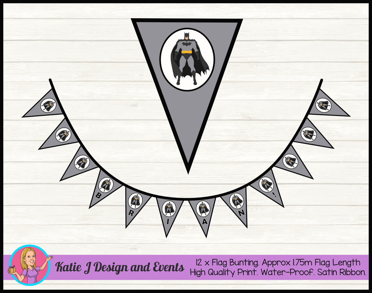 Batman Personalised Birthday Party Flag Bunting Name