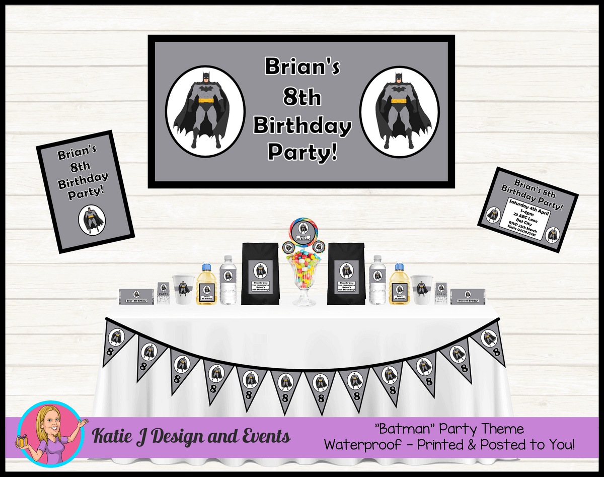 Personalised Black & Grey Batman Party Packs Decorations Supplies