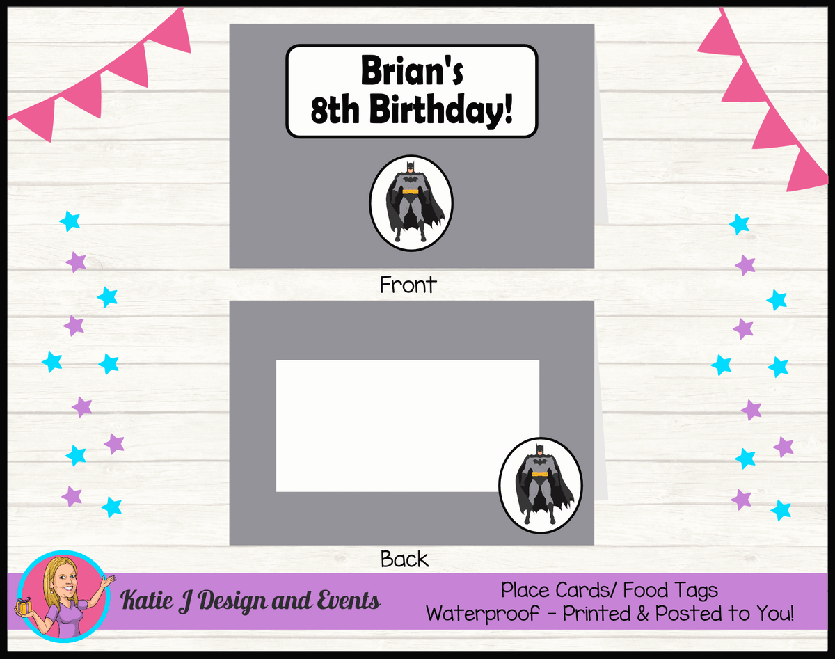 Batman Personalised Birthday Party Place Cards