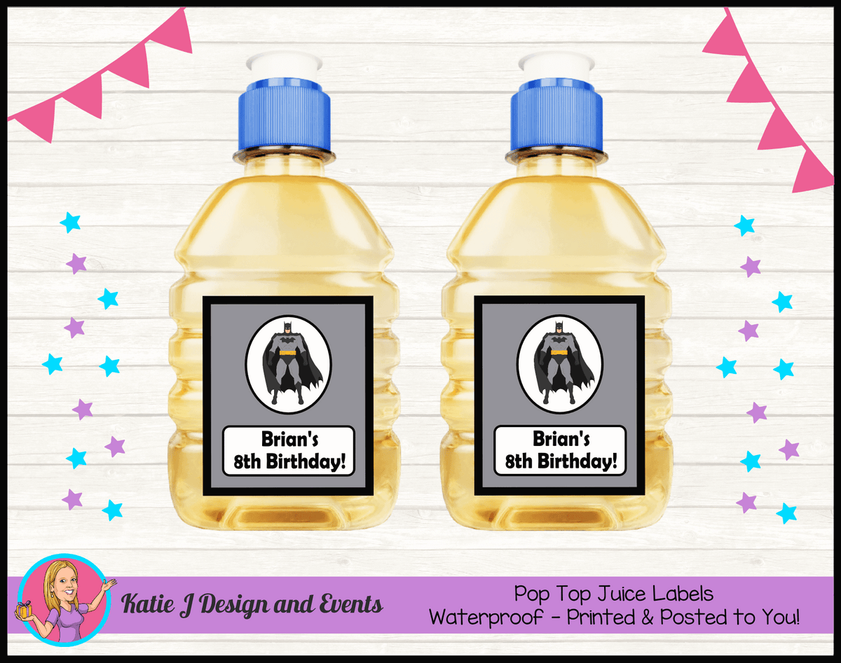 Batman Personalised Birthday Party Pop Top Juice Labels