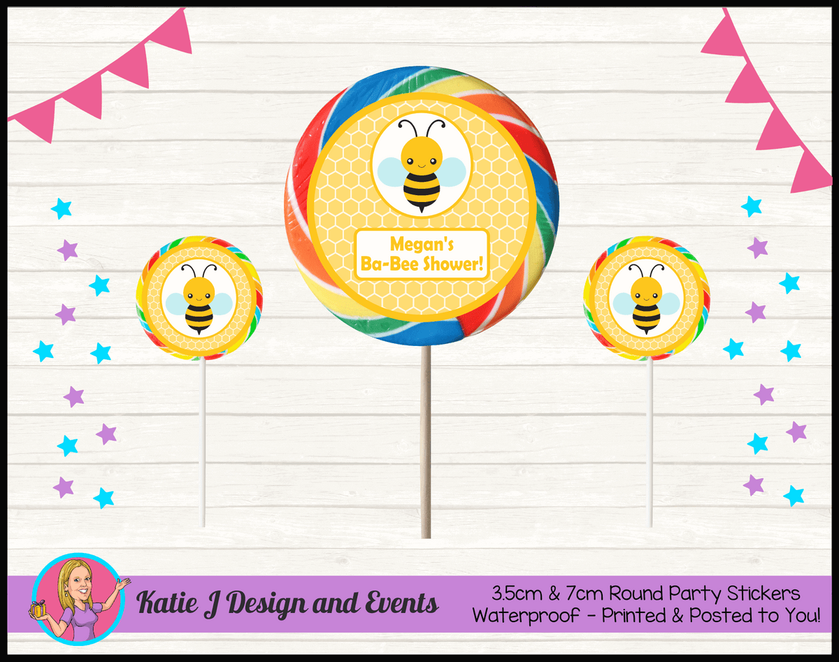 Yellow Bee Personalised Baby Shower Round Lollipop Stickers